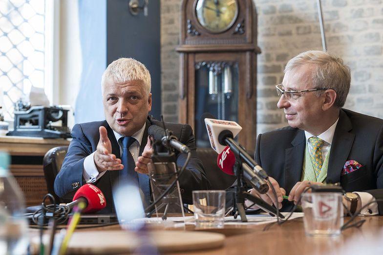 Na zdjęciu Robert Gwiazdowski i Adam Sadowski z Centrum im. Adama Smitha.