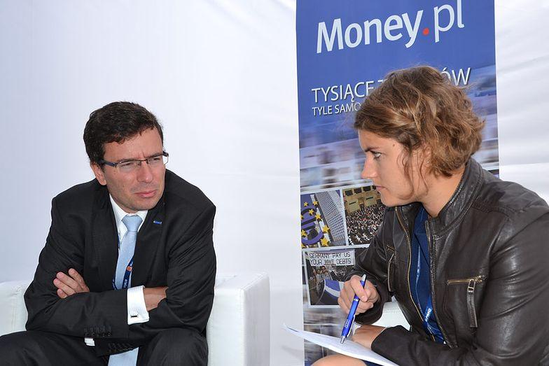 Paweł Hordyński, członek zarządu PKP Intercity <br>z dziennikarką Money.pl Anną Anagnostopulu <br>podczas Forum Ekonomicznego w Krynicy