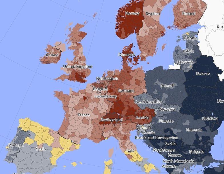 Mapa biedy i bogactwa. Tak wyglądamy na tle Europy
