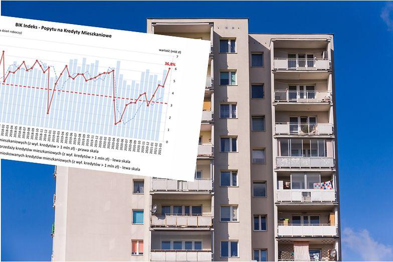 """Popyt na kredyty mieszkaniowe """"odpalił"""". Najwięcej wniosków od dekady"""