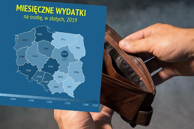 Przeciętna rodzina w Warszawie wydaje miesięcznie średnio ponad 2600 zł więcej niż rodzina na Warmii i Mazurach.