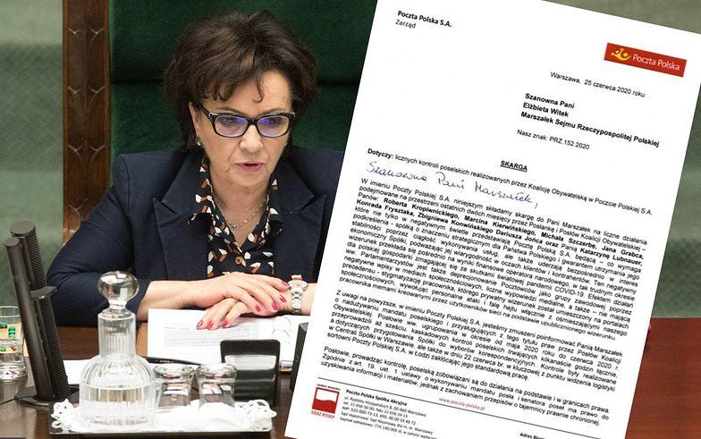 Skarga zarządu Poczty Polskiej złożona została na biurko Marszałek Sejmu Elżbiety Witek.