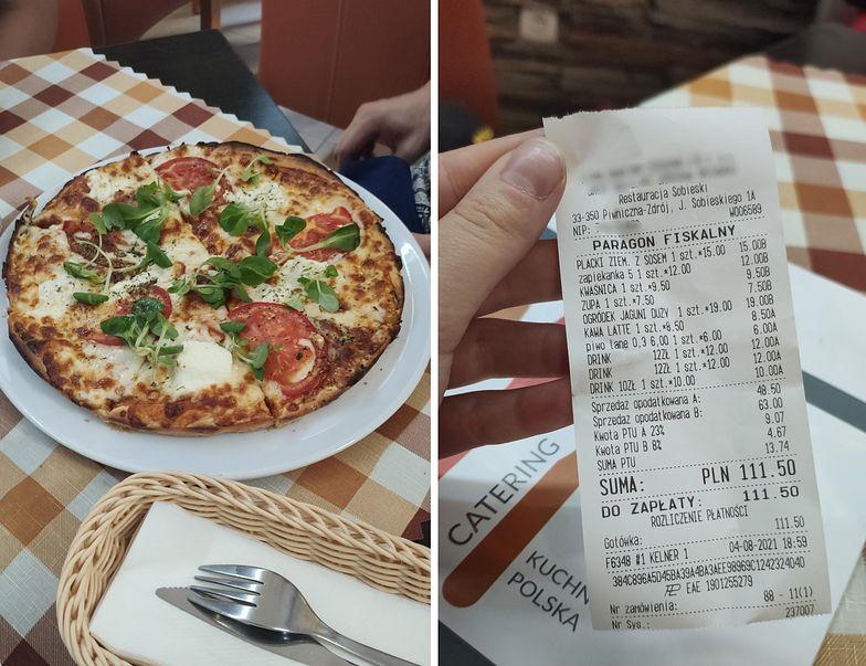 Kwota na paragonie zaskoczyła klientkę. Nie spodziewała się takiej ceny za pizzę i drinki