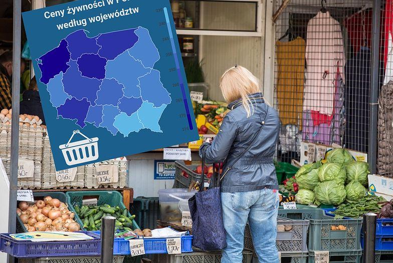 To nie jest mapa preferencji politycznych Polaków. To ceny koszyka GUS w poszczególnych województwach
