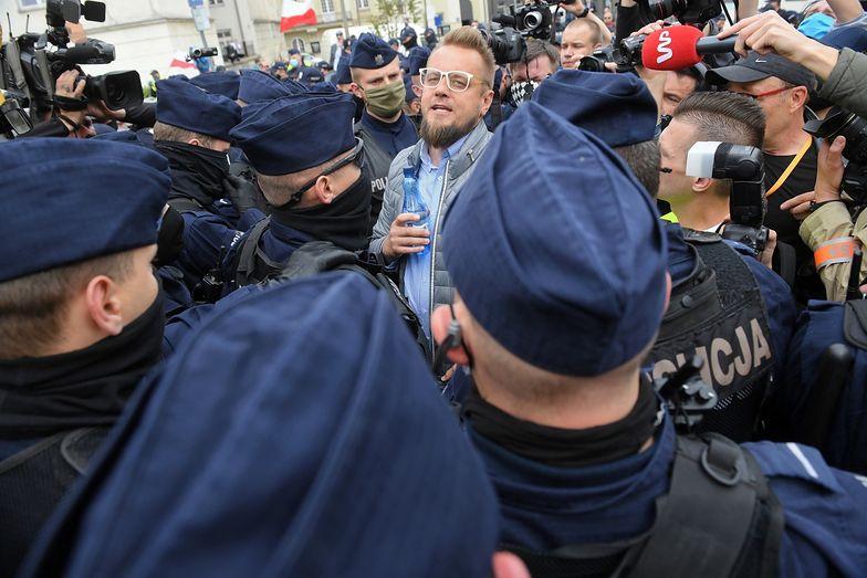 Paweł Tanajno został zatrzymany przez Policję w sobotę podczas strajku przedsiębiorców