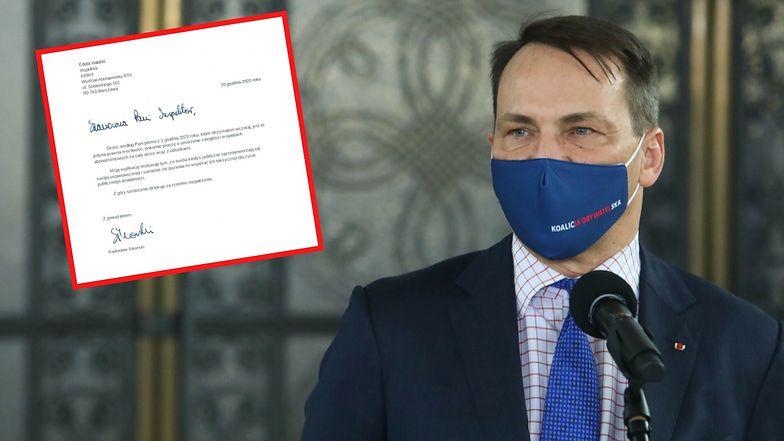 """Sikorski idzie na """"wojnę"""". Nie chce płacić na TVP. Napisał pismo"""