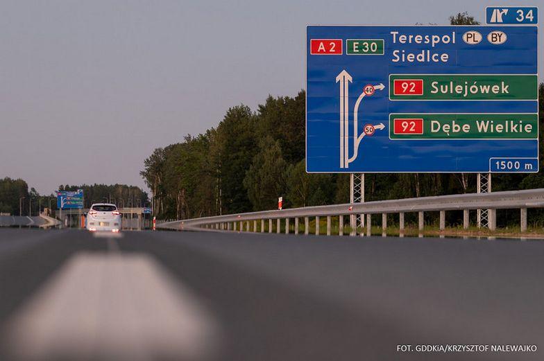 GDDKiA otwiera 15 kilometrów A2 na wschód od Warszawy