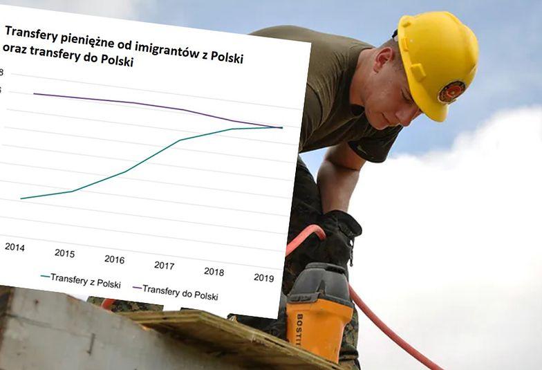 Praca za granicą. Imigranci wysłali więcej pieniędzy niż Polacy przysłali do kraju.