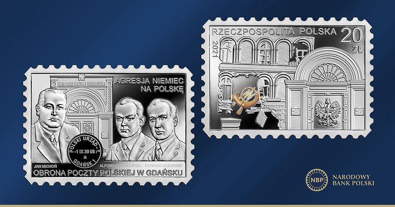 Narodowy Bank Polski upamiętnił rocznicę Obrony Poczty Polskiej w Gdańsku – monetą w kształcie znaczka pocztowego