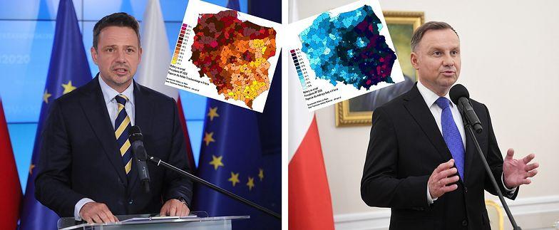 Wybory 2020. Powiatowe mapy Polski pokazują rozbicie na pół narodu.