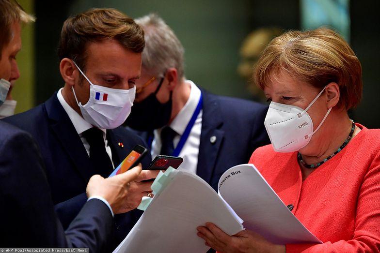 Kanclerz Niemiec Angela Merkel i prezydent Francji Emanuel Macron.