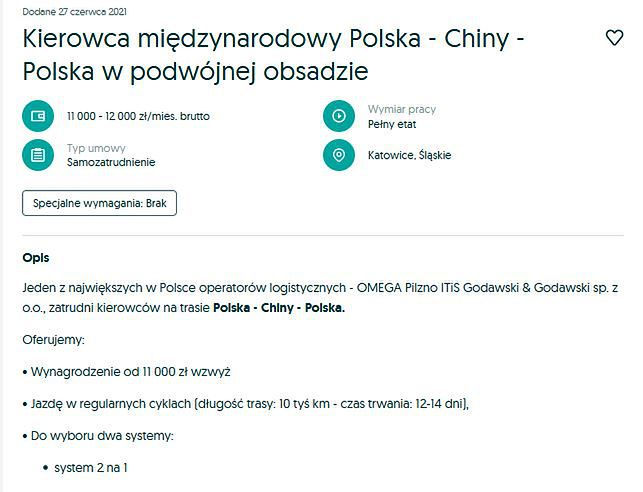 Poszukiwani kierowcy, którzy będą jeździć z Polski do Chin. Zarobki? Od 11 tys. zł
