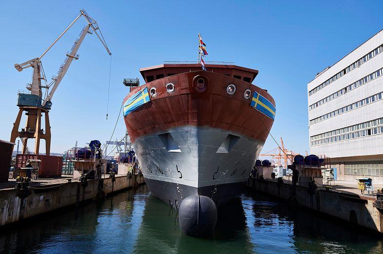 Wodowanie w gdyńskiej stoczni. Okręt wywiadowczy dla Szwedów