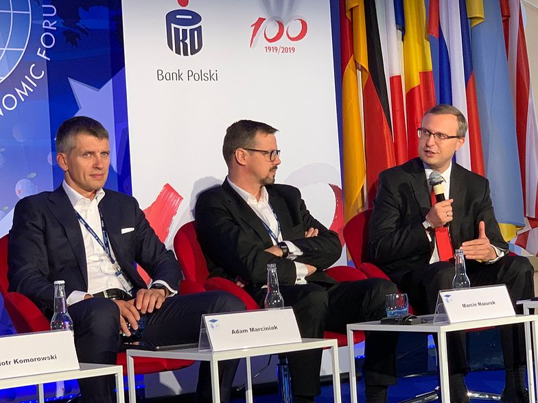 Adam Marciniak, Marcin Mazurek i Paweł Borys podczas Forum Ekonomicznego w Krynicy Zdrój