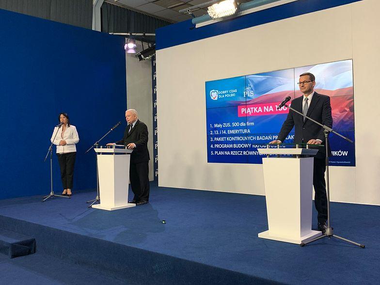 """Wybory parlamentarne 2019. Morawiecki i Kaczyński o planie na pierwsze 100 dni rządu. Zaprezentowali kolejną """"piątkę PiS"""""""