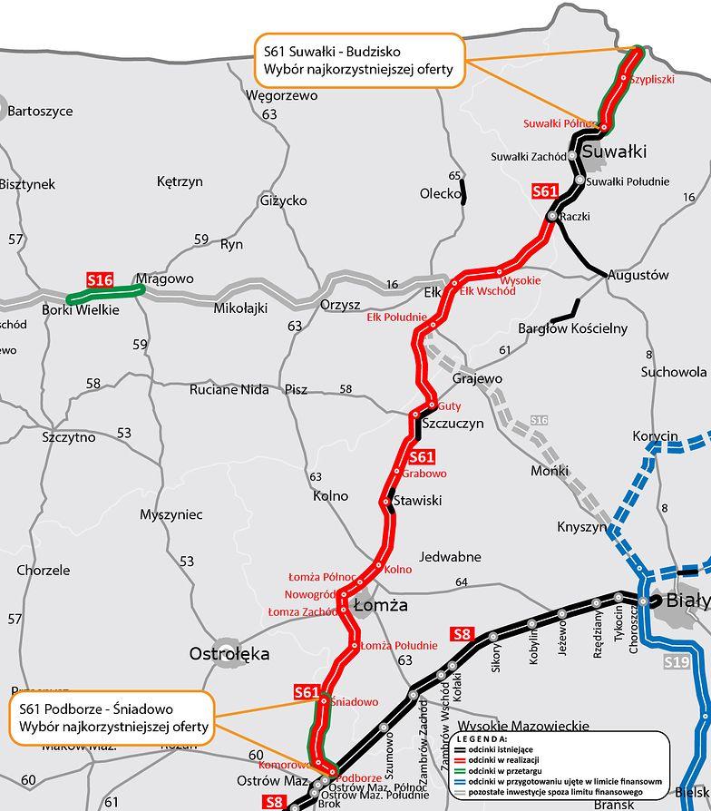 Via Baltica ma komplet wykonawców. GDDKiA rozstrzygnęła ostatnie przetargi na budowę S61