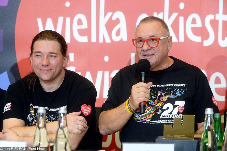 Rzecznik WOŚP Krzysztof Dobies oraz prezes WOŚP Jerzy Owsiak.