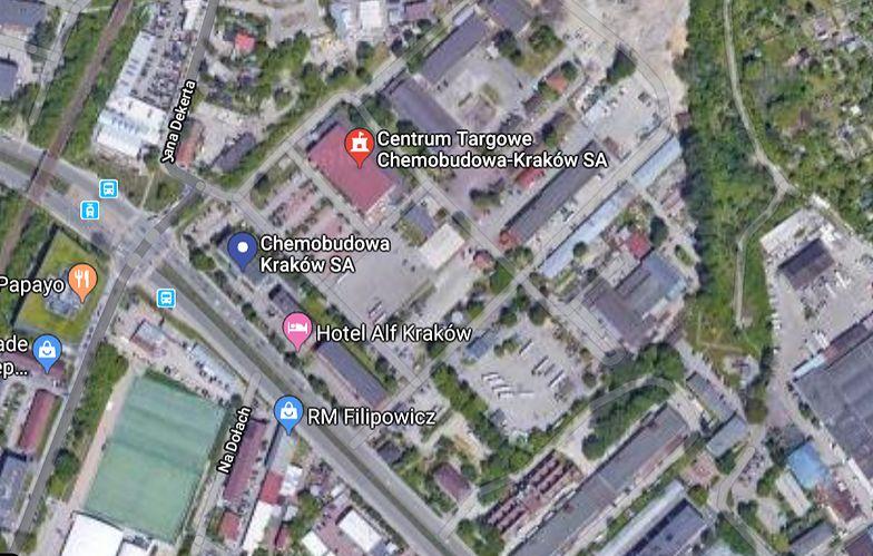 Zdjęcie satelitarne nieruchomości Chemobudowy Kraków
