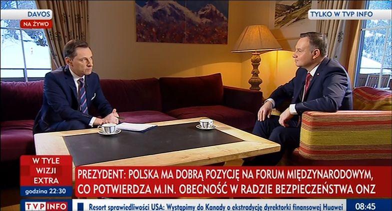 Prezydent Andrzej Duda podczas Światowego Forum Ekonomicznego w Davos w rozmowie z TVP Info