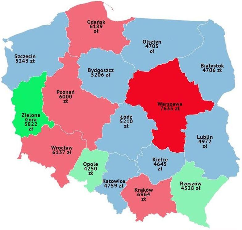 Ciągle w Warszawie ceny mieszkań są zdecydowanie największe.