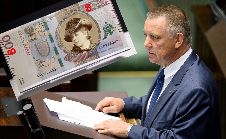 Marian Banaś i wizualizacja, jak mógłby wyglądać nowy banknot