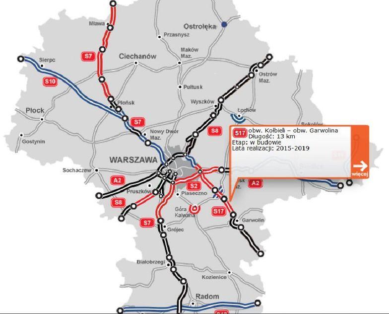 """Choć na stronie GDDKiA odcinek S17 jest """"w budowie"""", to jednak resort infrastruktury potwierdził już jego otwarcie."""
