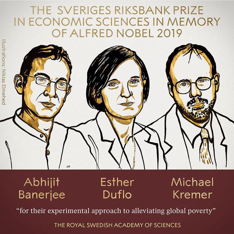 Komitet uhonorował trójkę naukowców. Laureatami są: Abhijit Banerjee, Esther Duflo and Michael Kremer