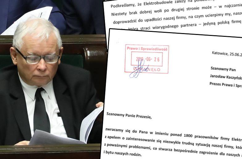 Jarosław Kaczyński dostał właśnie nową lekturę do czytania. To list od związków zawodowych w Elektrobudowie