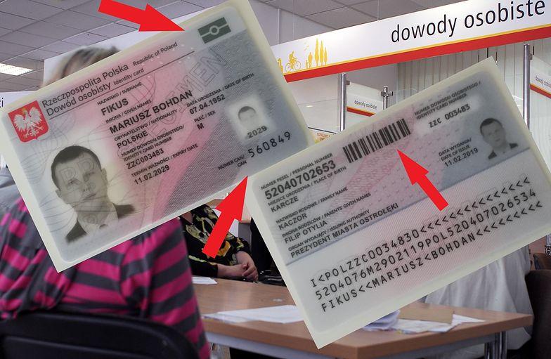 """Awers i rewers nowego - elektronicznego - dowodu osobistego z kluczowymi nowościami - znak """"chipu"""", kod CAN oraz kod kreskowy"""