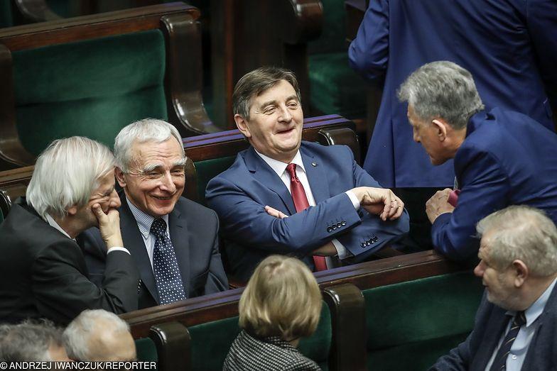 Marek Kuchciński w towarzystwie Stanisława Piotrowicza oraz Piotra Naimskiego i Ryszarda Terleckiego