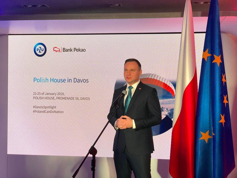 Prezydent Andrzej Duda w Davos podczas otwarcia Domu Polskiego