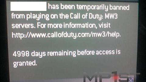 Dostał bana w Modern Warfare 3... na 14 lat