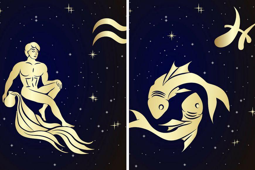 Wizerunki znaków zodiaku - Wodnika i Ryb