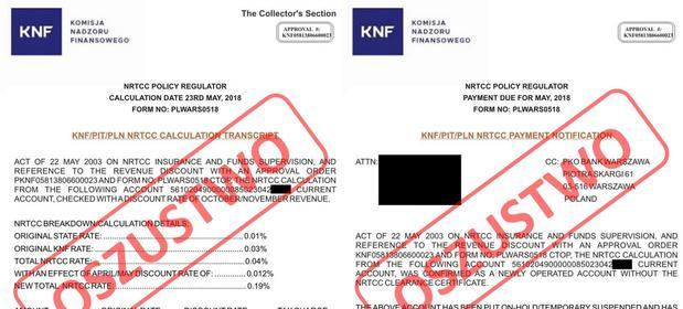 KNF opublikowała kopie fałszywych dokumentów rzekomo sygnowanych przez szefa Komisji