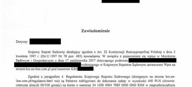 Zasłoniliśmy dane adresata. To właśnie to pismo przekazał naszej redacji zaniepokojony przedsiębiorca