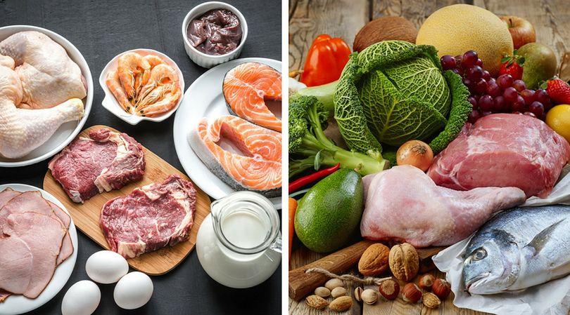 Różne rodzaje diet - dieta Dukana (po lewej) oraz dieta Paleo (po prawej)