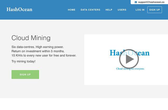 Obecna strona na hashocean.co  jest bliźniaczo podobna do tej, jaka widniała na hashocean.com.