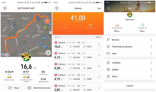 Zrzuty ekranów z aplikacji MiDong