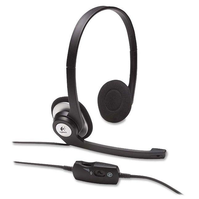 Przykładem słuchawek do komunikatorów VoIP sąLogitech H390