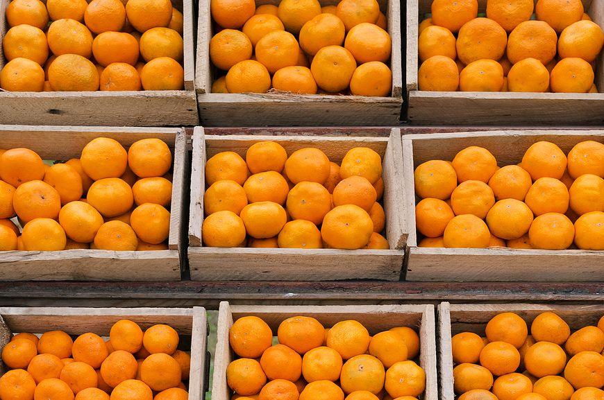 Pomarańcze na sklepowych półkach