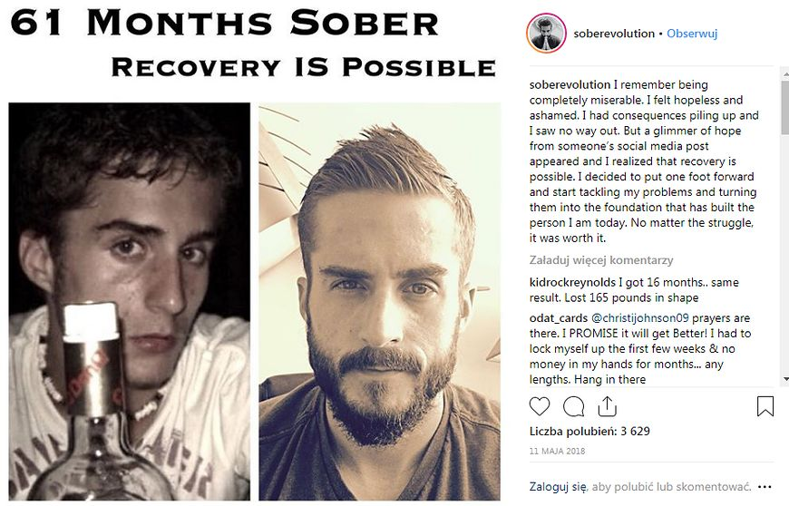 Zrezygnował z picia alkoholu [instagram.com]
