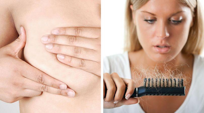 Zmiany w piersiach oraz nadmierne wypadanie włosów to symptomy zaburzeń hormonalnych