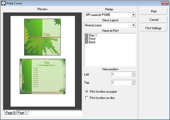 Projekt okładki płyty kompaktowej wykonanej na AVS Cover Editor.