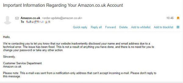 Krotki e-mail od Amazonu wyjaśniający problemy techniczne, źródło: BetaInfo.