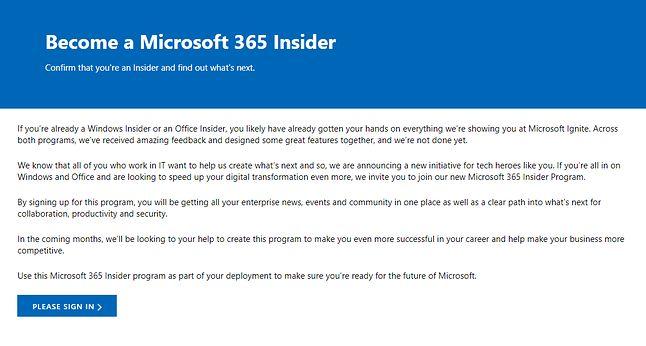 Krótki wstęp poprzedzający rejestrację do programu Microsoft 365 Insider, źródło: Microsoft.