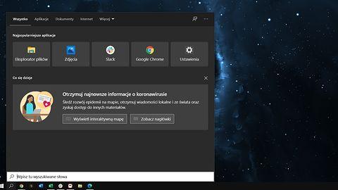 Windows 10 i koronawirus: nowy baner w systemowej wyszukiwarce