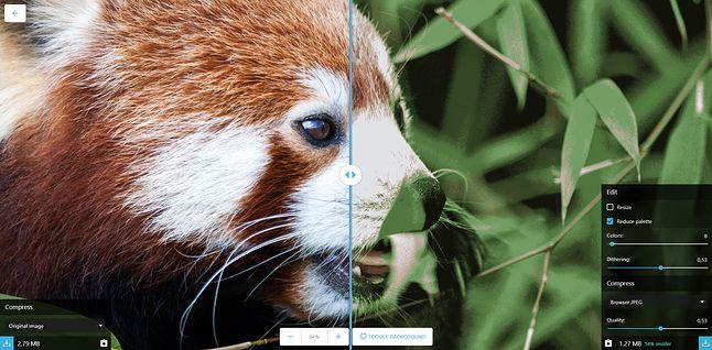 Interfejs Google Squoosh na desktopie. Zainteresowani testami mogą skorzystać z kilku zdjęć przykładowych.