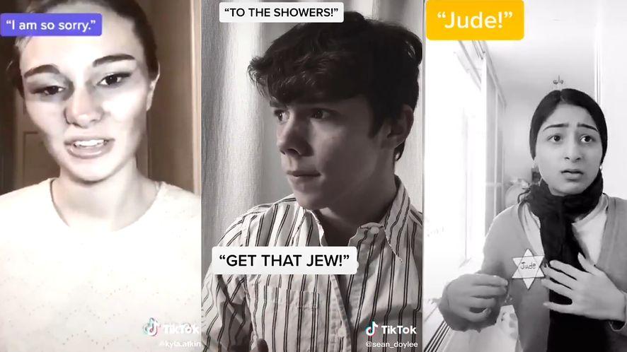 TikTokerzy udawający ofiary Holokaustu. (TikTok)