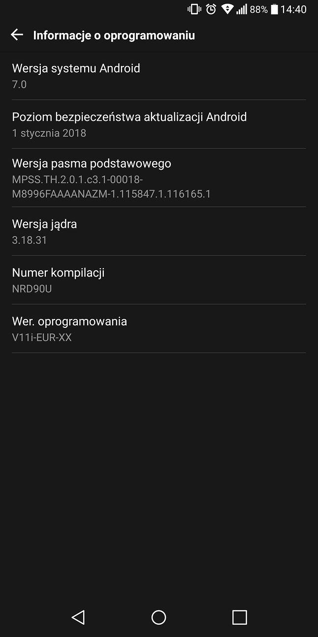 Informacje o oprogramowaniu w LG G6.