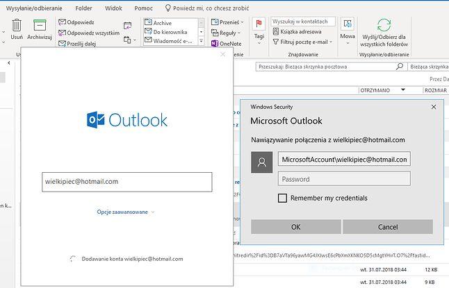 Outlook dalej nie radzi sobie z nowoczesnym logowaniem